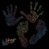 Imprint of children s palms and feet. Mehendi set. Royalty Free Stock Image