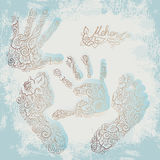 Imprint of children s palms and feet. Mehendi set. Stock Photography