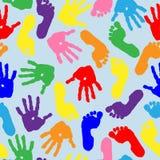 Imprint of children s palms and feet. Seamless pattern. stock illustration