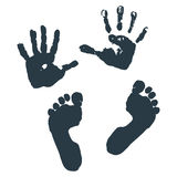 Imprint of children s palms and feet. Vector illustration Royalty Free Stock Image