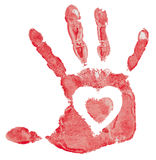 Imprint of hand. Detail imprint of hand with heart,  illustration on white background Royalty Free Stock Images