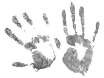 Imprint of hands. Imprint of two hands  on white background Stock Photo