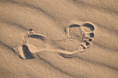 Imprint head human foot in the desert Stock Photography