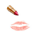 Imprint of the lips. On white background, lipstick stock photos