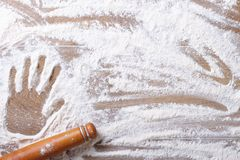 Imprint on palm flour and rolling pin horizontal Stock Photography