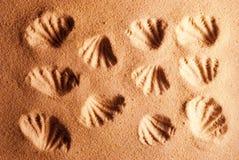 Imprint sandy background. Stock Photography