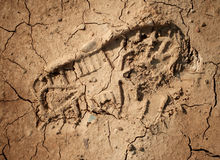 Imprint of the shoe on the dried and cracked mud. Royalty Free Stock Photography