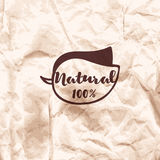 Imprint of the stamp on a crumpled kraft paper background. Leaf Stock Photos