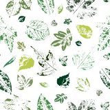 Seamless pattern with imprints of green leaves on a white background. vector illustration