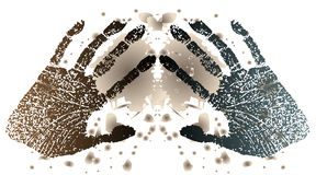 Imprints of hands. Of the person on a background of dirty spots Stock Images
