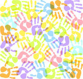 Imprints hands. Colored  abstract imprints hands Stock Images