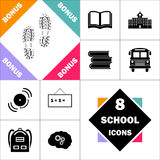 Imprints computer symbol. Imprints Icon and Set Perfect Back to School pictogram. Contains such Icons as Schoolbook, School  Building, School Bus, Textbooks Stock Photos