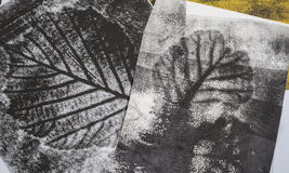 Imprints of leaves. Artistic image - imprints of leaves - Graphics - monotype Royalty Free Stock Photo