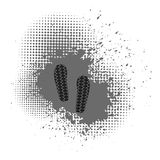 Imprints. Shoes Imprints on Grey Crunge Background. Halftone Background Royalty Free Stock Photography