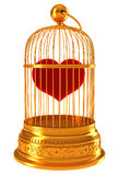 Imprisoned love: red heart in golden cage. Isolated on white Royalty Free Stock Photography