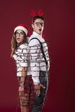 Imprisoned nerd couple Royalty Free Stock Images