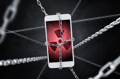 Imprisoned smartphone with encrypted data. Conception of virus threat Stock Image