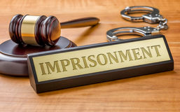 Imprisonment. A gavel and a name plate with the engraving Imprisonment Royalty Free Stock Photo