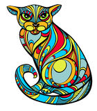 Improbable cat. Portrait of improbable colored cat, in Art Nouveau style, stained glass version. Body is isolated on white Royalty Free Stock Photography