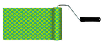 Improbable green yellow turquoise paint roller isolated Royalty Free Stock Images
