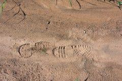Impronta delle scarpe su suolo Fotografia Stock