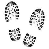 Impronta dello stivale Siluetta umana della scarpa di orme Isolato su priorità bassa bianca Fotografia Stock Libera da Diritti