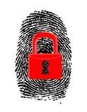 Impronta digitale con la u-serratura chiusa e rossa Immagine Stock Libera da Diritti