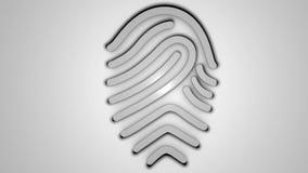 impronta digitale 3D su fondo bianco Fotografia Stock Libera da Diritti