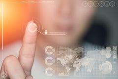Impronta digitale di tocco del dito della mano verificata con sicurezza Immagine Stock