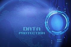Impronta digitale e protezione dei dati sullo schermo digitale royalty illustrazione gratis