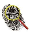 Impronta digitale sotto un magnifier Immagine Stock Libera da Diritti