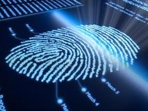 Impronta digitale sullo schermo pixellated Fotografia Stock Libera da Diritti