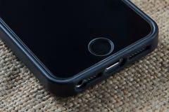Impronta digitale sullo smartphone Fotografie Stock