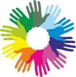 Impronte di colore della mano Fotografie Stock Libere da Diritti