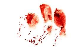 Impronte digitali rosse sanguinose Fotografie Stock Libere da Diritti
