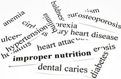 Improper nutrition. Health care concept of diseases caused by unhealthy nutrition Stock Photos