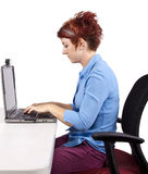 Improper posture. Young woman demonstrating office desk posture royalty free stock images