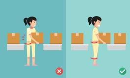 Improper versus against proper lifting Stock Images