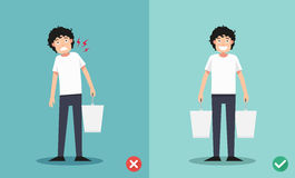Improper versus against proper lifting ,illustration Royalty Free Stock Photo