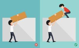 Improper versus against proper lifting ,illustration Royalty Free Stock Photography