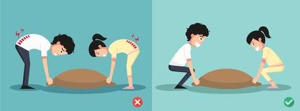 Improper versus against proper lifting ,illustration Royalty Free Stock Image