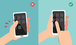 Improper vs proper hand holding and touching smart phone Stock Photography