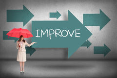 Improve against blue arrows pointing Royalty Free Stock Photos