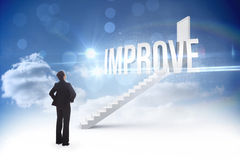 Improve against steps leading to closed door in the sky Royalty Free Stock Photography