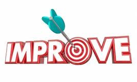 Improve Arrow Bullseye Better Results Word. 3d Illustration Stock Images