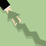 Improve business concept. Flat illustration of chart and hand. B. Usinessman pull growth arrow graph to improve progress and success Royalty Free Stock Image