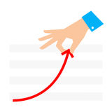 Improve business 2. Improve business concept. Flat illustration of chart and hand. Businessman pull growth arrow graph to improve progress and success. Vector royalty free illustration