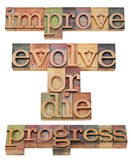 Improve, evolve or die. Progress  - motivation concept - a collage of isolated text in vintage wood letterpress printing blocks, stained by color inks Royalty Free Stock Photo