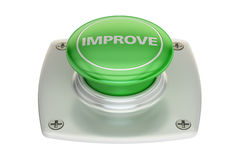 Improve green button, 3D rendering Stock Photos