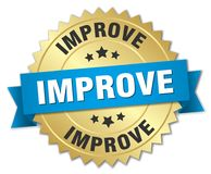 Improve. Gold badge with blue ribbon stock illustration